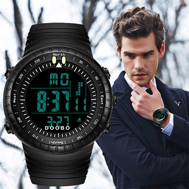DOOBO Homens Digital LED Sports Relógios de mergulho moda casual Militar relógios de Pulso pulseira de borracha relogio masculino Marca De Luxo 2016
