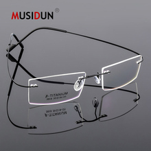 цена на Optical Glasses Frame Man woman Titanium Alloy Rimless Eyeglasses Frame Myopia Prescription Spectacle Frameless Q5018
