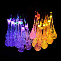 20LED Garden Light Lamp Solar Powered Water Drop String Fairy Light For Outdoor Garden Patio Xmas