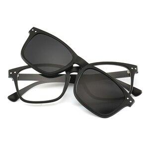 Image 2 - New Include Frame Polarized Clip On Sunglasses Men TR90 Custom prescription lenses Magnetic clips night glasses drive Magnet