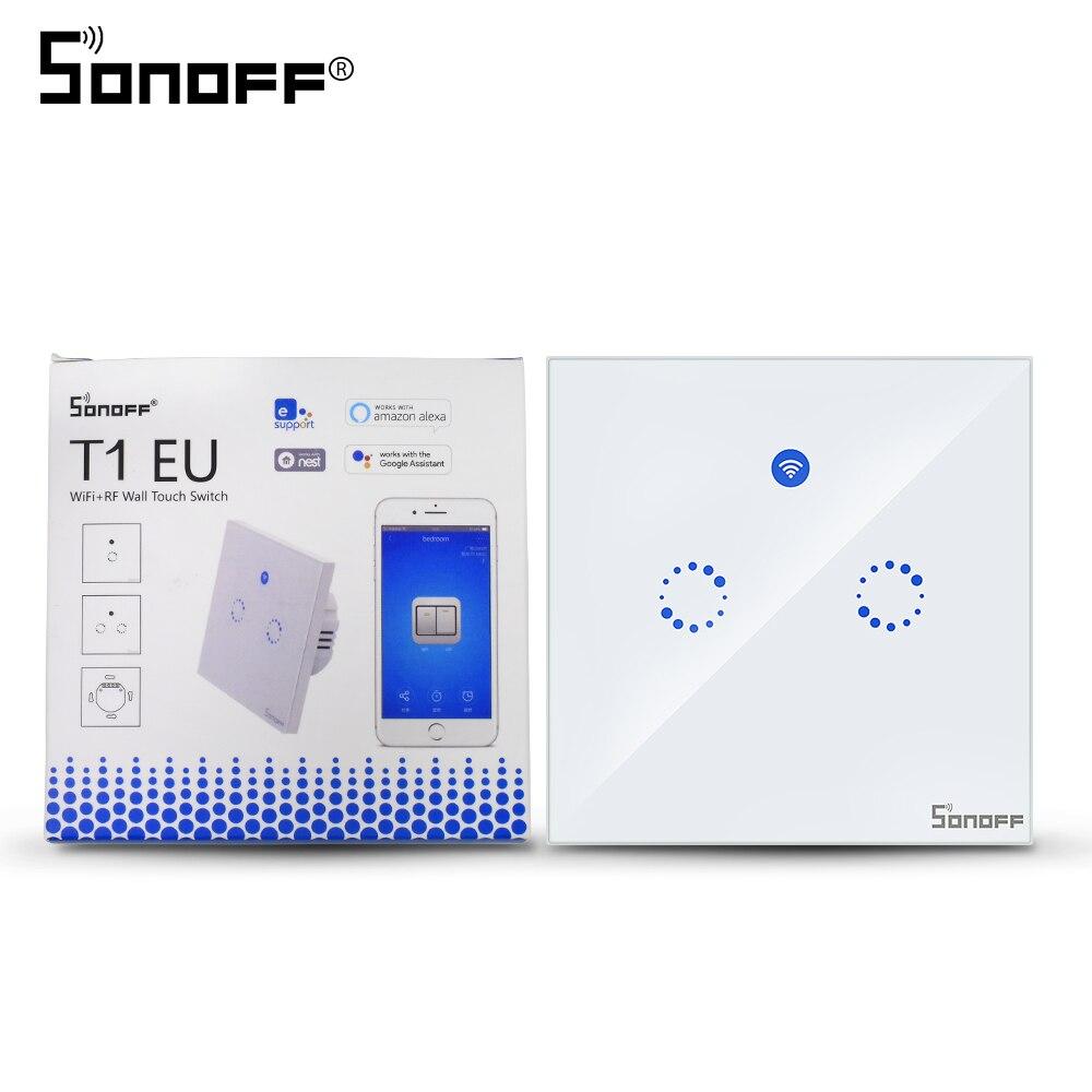 Sonoff T1 EU 2 Gang 86 Typ Wifi Wand Touch Schalter RF/433 mhz/APP Control 90- 250 v für Smart Home Drahtlose Licht Arbeit Mit Alexa