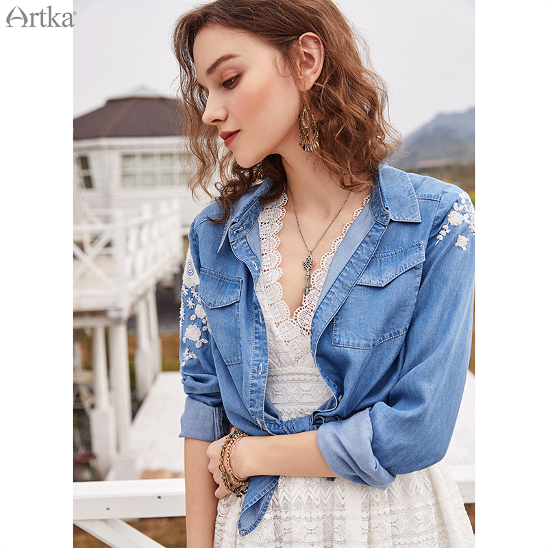 ARTKA Vintage Embroidery Blouse Shirts SN10083Q