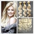 De brilho 7A brasileiro cabelo Weave Bundles com Lace Frontal 13 * 4 onda do corpo do cabelo humano tecelagem cor 613 loira Remy cabelo tecer