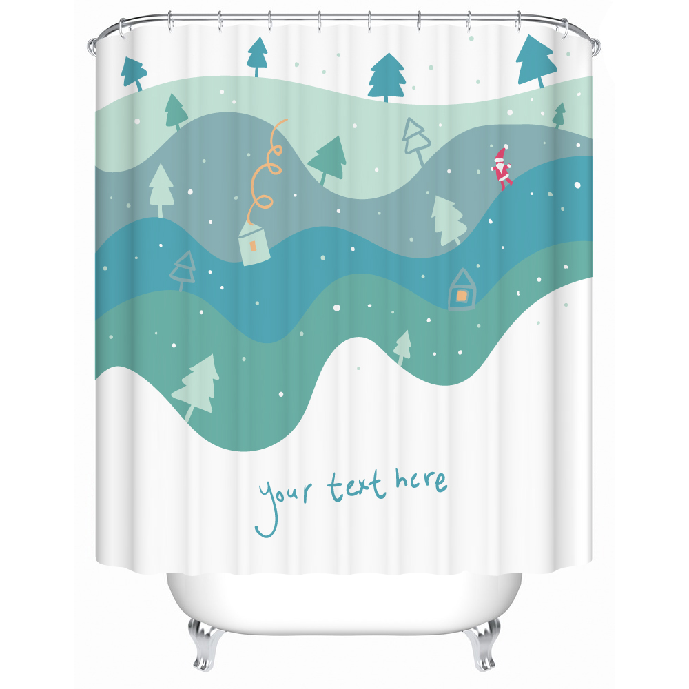 fantastic mountain tree shower curtain colorful design gradient bath shower waterproof and durable waterproof and fabric