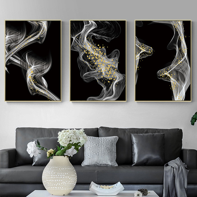 Modern smoke ink landscape entrance decorative painting Home living room sofa painting mural Simple atmospheric stair painting
