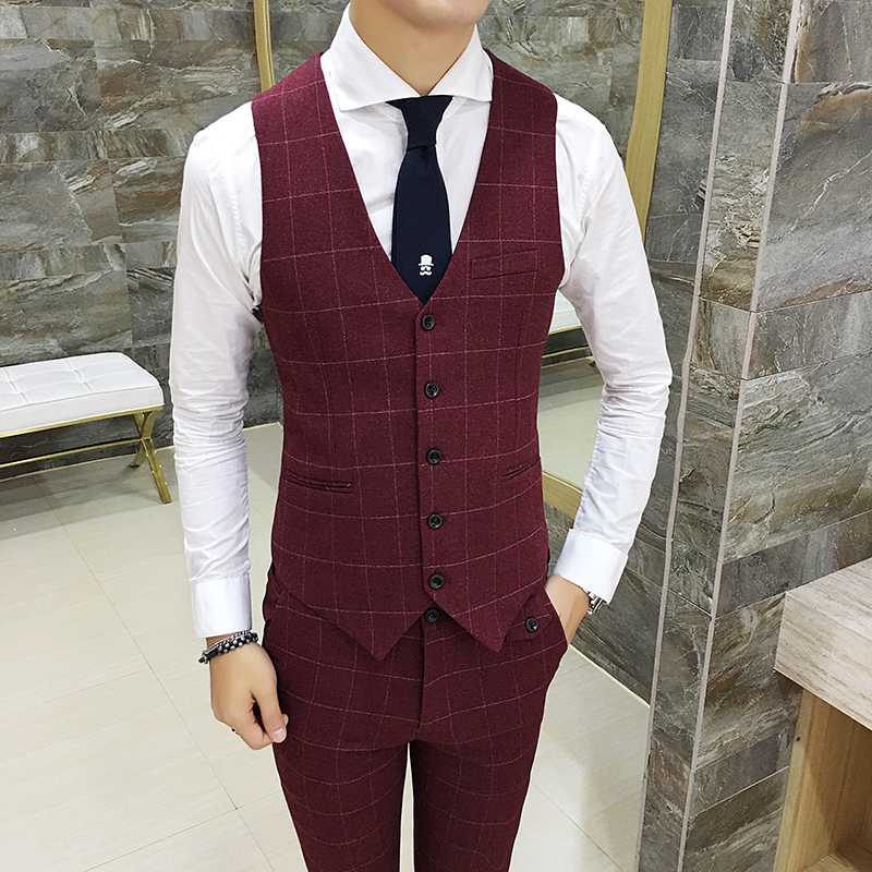 High end Men Tartan Suit Vests Size S M L XL 2XL 3XL Slim Elegant Business Wedding Banquet Groom Dress Vest