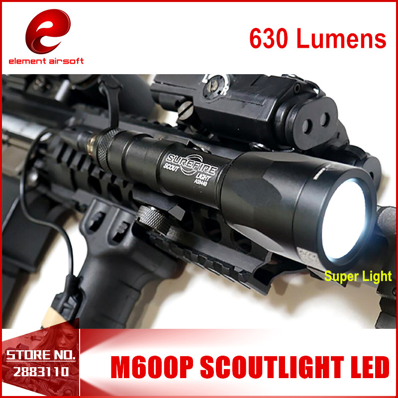 Element M600P Scout Light Hunting Super Bright Flashlight Gun Airsoft Weapon For 20mm Weaver Picatinny Rail Base 630 Lumen EX362