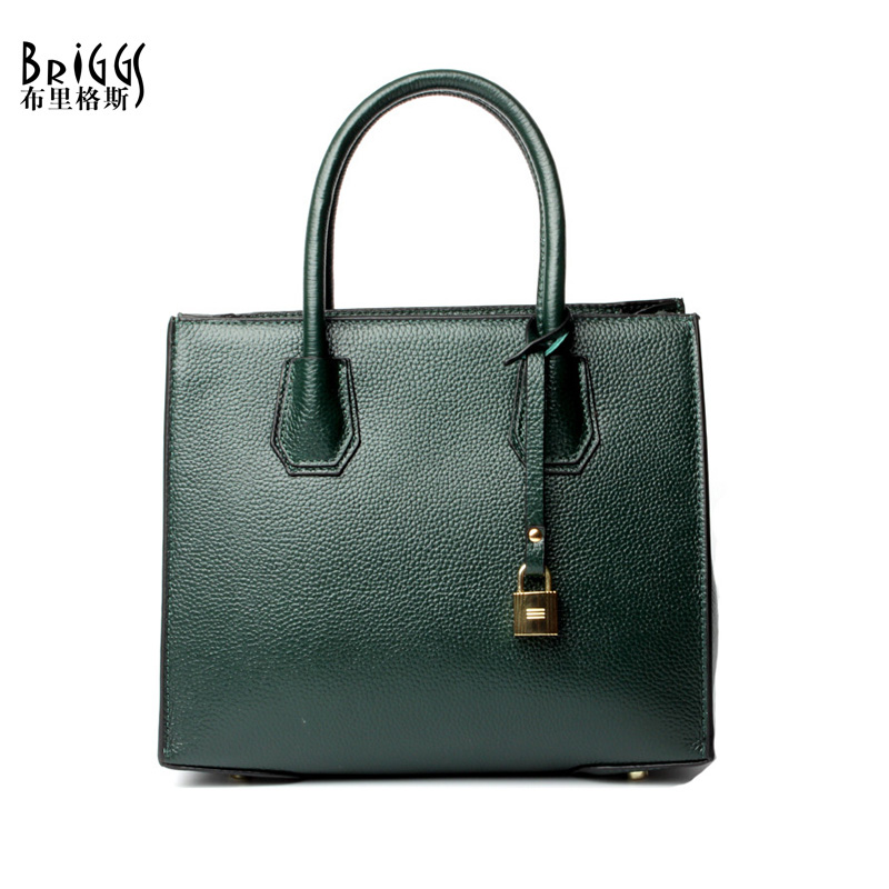 BRIGGS Brand Genuine Leather Women Bags Casual Tote Handbags Solid Shoulder Messenger Bags Designer Vintage Bag Bolsas femininas punk rivet handbags women bags designer brands shoulder bags chain messenger bag clothes shape black tote bolsas femininas a0337
