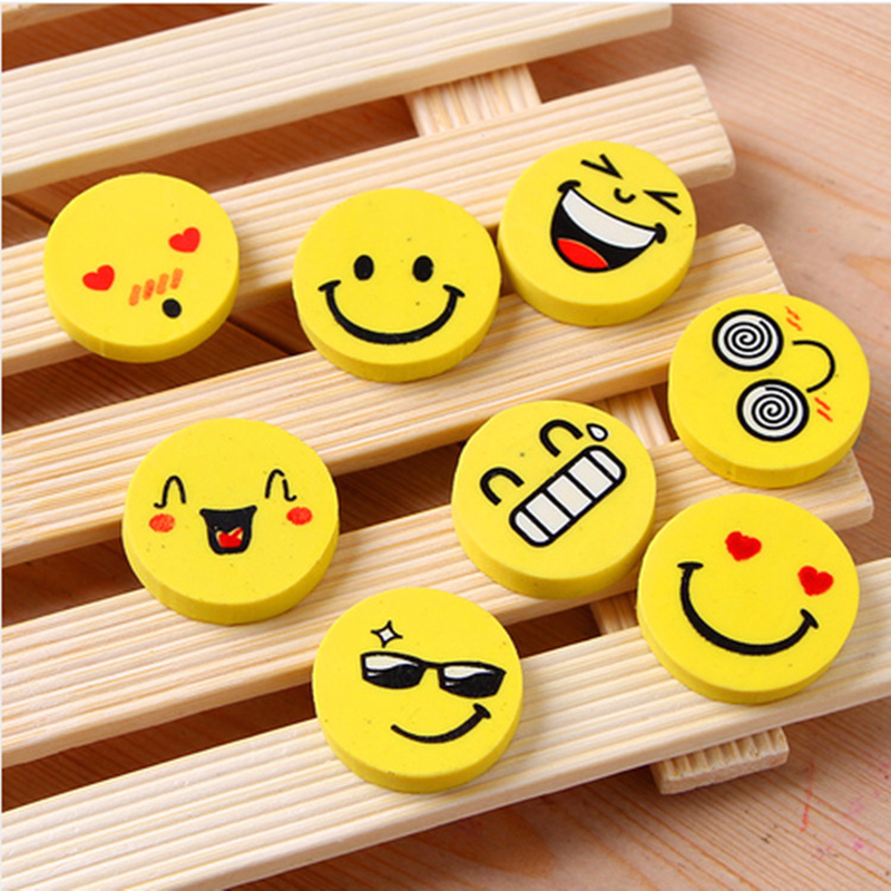 8 PCS Emoji Shaped Rubber Pencil Eraser Cute Cartoon Expression Mini Rubber Eraser School Supplies Children Learning Toys