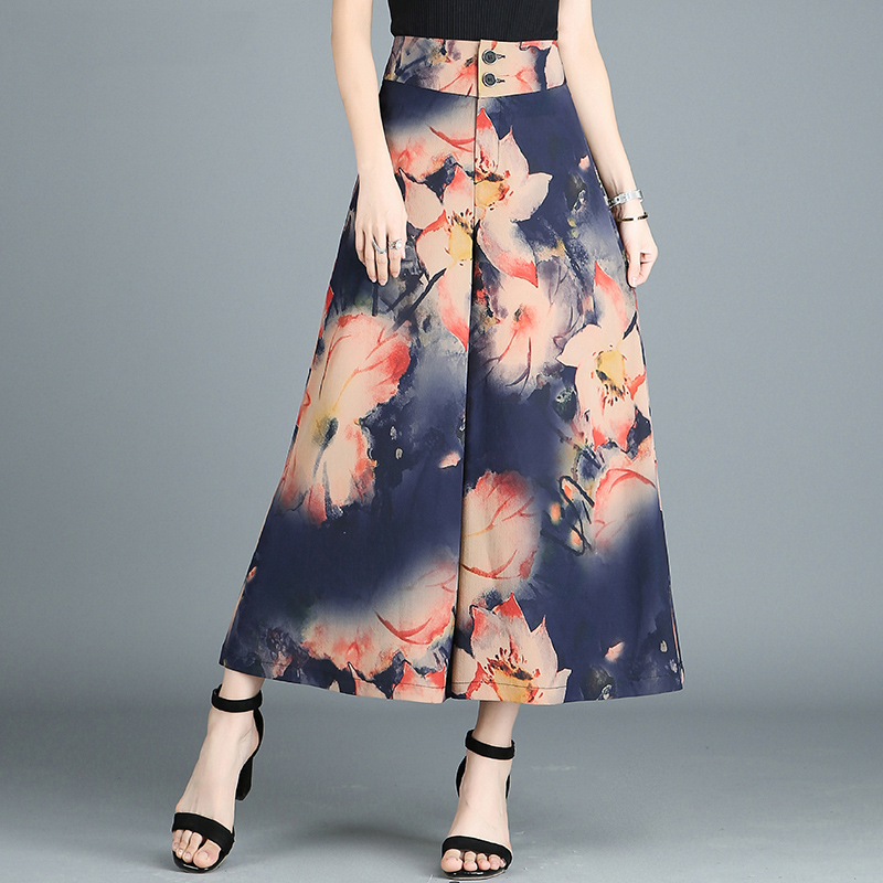 Women's Summer New High-Waist Chiffon   Wide     Leg     Pants   Women's Bohemia   Wide     Leg     Pants   Loose-Printing Casual trousers Female