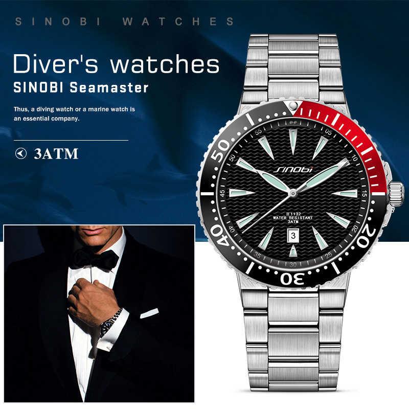 SINOBI לצפות Mens קוורץ יד שעונים זוהר מצביע נירוסטה זכר ספורט ז 'נבה Rolexable שעונים Relogio Masculino