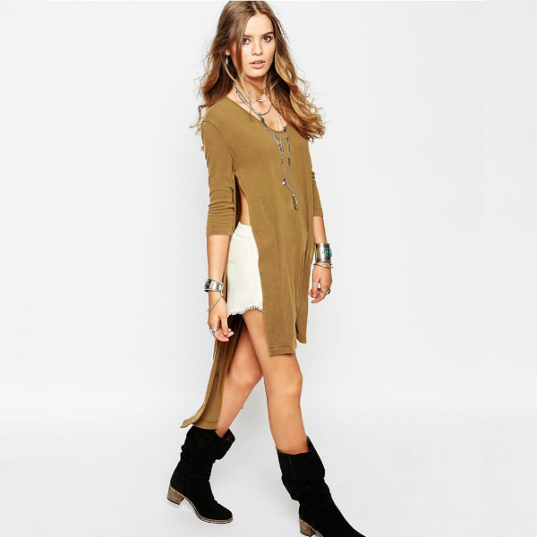 606c44fc561c2 Hot 2015 Women Shirt Dresses High Open Side Split Party Long Tee T Shirt  Tshirt feminine Summer Maxi Casual Dress Club Outfit