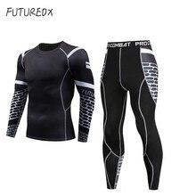 Высокое качество новое термобелье мужское костюм для фитнеса компрессионное быстросохнущее термобелье мужские спортивные спортивная одежда