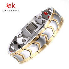 Oktrendy DIY Adjustable Length 8 Stainless Steel Chain Magnetic Health Care Bracelet Men Jewelry Good Quality
