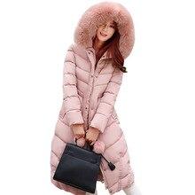 Длинный Жакет Женщины 2016 Дамы Зимнее Пальто Новая Мода winterjas дамы толстая вниз ватным тампоном, меховая куртка с капюшоном