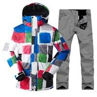 2019 Men Ski Suit GSOU SNOW Snowboard Suit Thermal Jacket Pamt Outdoor Sport Wear Windproof Waterproof Skiing Riding Male Warm