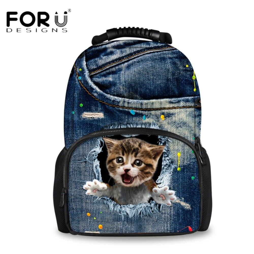 FORUDESIGNS Canvas Travel Backpacks for Women Men Cute 3D Denim Animal Cat Printing School Backpack Teenage Girls Bagpack