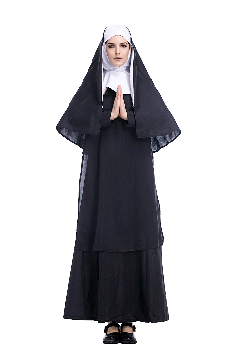 Halloween Costumes The Virgin Mary Nun Costume Robe Clothing Headscarf Costumes Suit For Women Cosplay