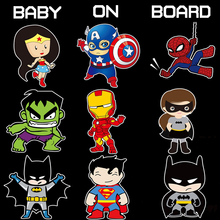 Superheroes Baby On Board Reflective Car Stickers And Decals for Volkswagen Skoda Honda Hyundai Kia Lada Opel Peugeot 307 Golf