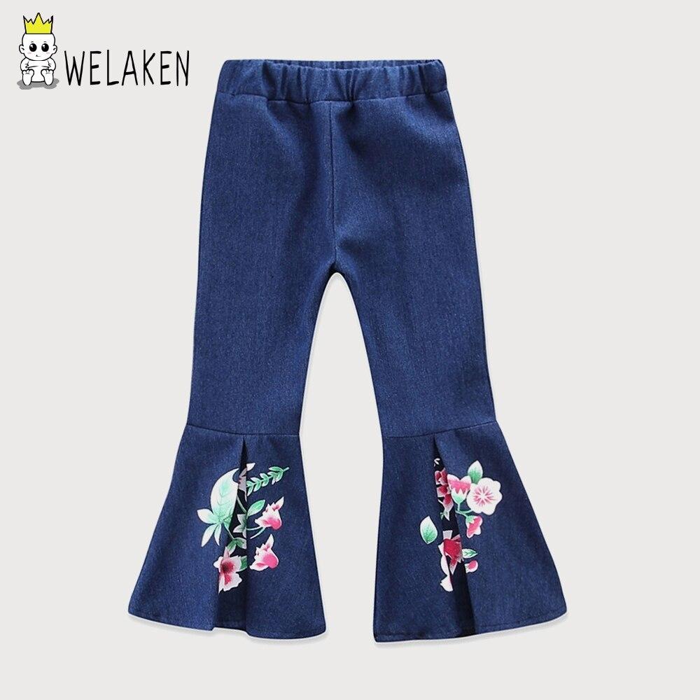 WeLaken Filles Denim Pantalon Imprimé floral Jeans 2018 Nouvelle Arrivée Survêtement Enfants Mode Casual Enfants Pantalon Filles Jeans