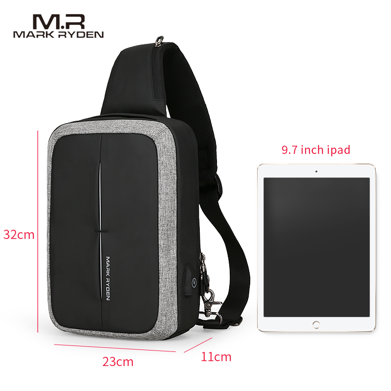 Mark Ryden nouveau sac à bandoulière pour hommes sac à bandoulière pour affaires sac à bandoulière de haute capacité Design de recharge USB - 2