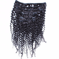 Clip In Human Hair Extensions 120g/set Kinky Curly Hair Full Head 7pcs/set Clip Ins 100% Natural Hair Extensions Comingbuy Remy
