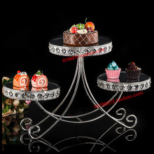 1 PCS European three-layer mirror crystal dessert table wedding bar West point the cake