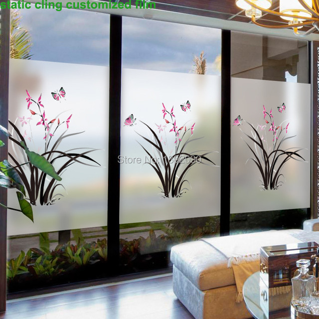Custom size stained static cling window film privacy frosted home decor glass stickers decals butterflies dining