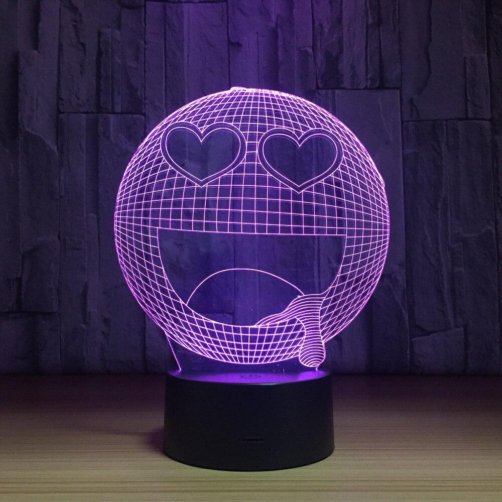 Звезда глаз счастливы Q слюни со смайликом 3D настольная лампа Спальня Выражение USB ночник 7 цветов сна для малыша подарок IY803121