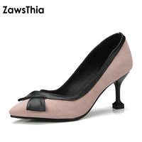 ZawsThia 2018 High Heeled Woman Shoes Pointed Toe Pink Red Slip On Dress Shoes For Women