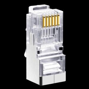 Image 3 - 50 шт., длинный корпус RJ11 RJ12 6P6C, телефонный соединитель FTP, 6 ядер, кристальная головка для телефона, модульная вилка, щит, медный корпус