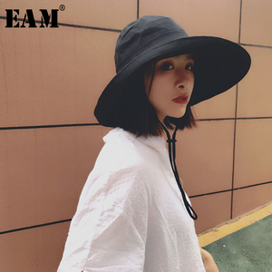 [EAM] 2020 New Summer Fashion Tide Foldable Cap Sun Hat Woman Fisherman Hat Aimple All-match Woman Dome Hat S963