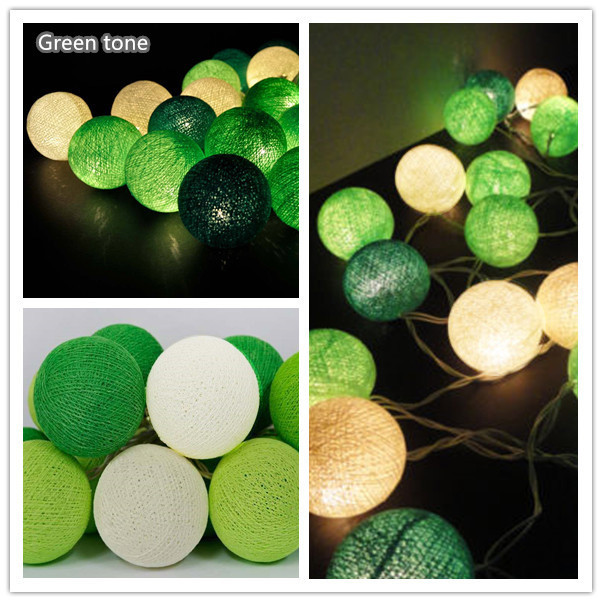 20 Green Leaf tone Cotton Ball String Lights Fairy lights Party indoor decor-in Holiday Lighting ...