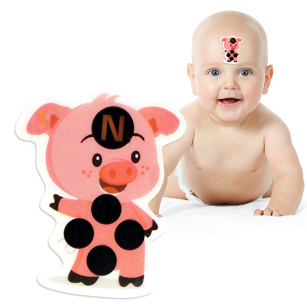 4Pcs Piggy Cartoon Thermometers Fever Monitor Forehead Sticker Baby Thermometer Lcd Digi ...