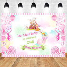 Neoback Our Little Baby is Turning One Theme Party Backdrop Shower Newborn 1st Birthday Background  Pink Sweet Candy Castle
