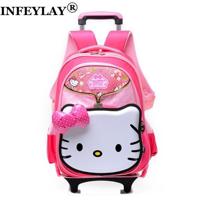 2c550b3dc1f Kinderen nieuwe rolling trolley case kind 3D strik schooltas studenten  Cartoon koffer hello kitty rugzak meisje