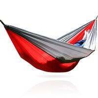 Portátil Nylon Mobiliário de Jardim Ao Ar Livre de Viagem de Acampamento Rede Sobrevivência Parachute Duplo Rede Balanço Cama Para Dormir 260*140 cm
