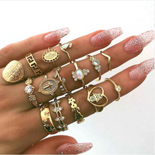 Retro Midi Knuckle Finger Ring Set Vintage Crystal flower Leave Cross Heart Shape Gold Color Crystal Wedding Jewelry Gifts vintage heart flower feather cuff ring set