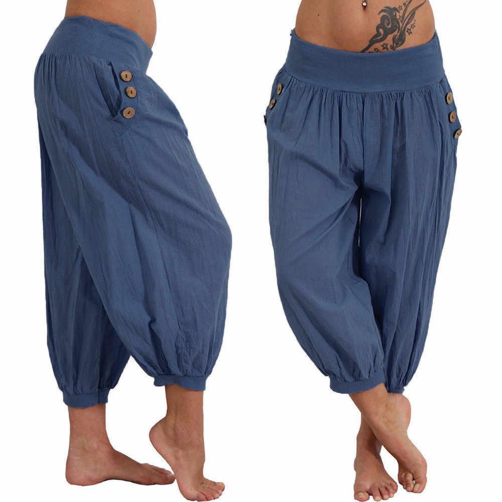 2019 YENI MODA Kadınlar Katı Düşük Bel Boho Kontrol Pantolon Baggy Geniş Bacak Rahat gevşek Capry katı yaz Ücretsiz Kargo