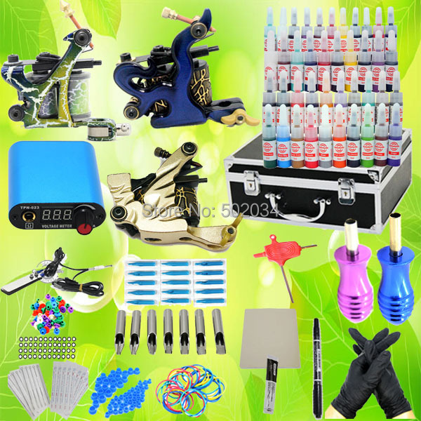 USA Dispatch Complete Pro Starter Tattoo Kit 3 Machines Guns 40 Inks LCD Power Needle Tip Grip equipment set K001 Supplies starter tattoo kit 40 inks 2 machine guns grips needles tips power set equipment supplies for beginners usa warehouse k201i1