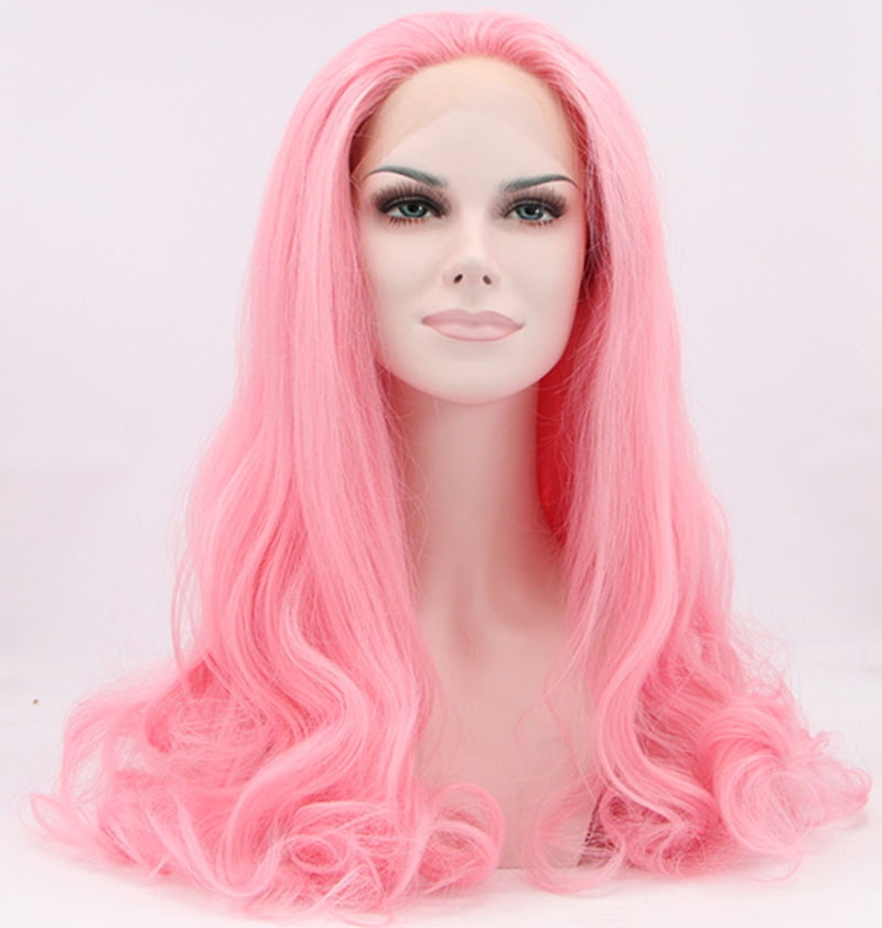 ФОТО Baby Pink Wigs Natural Wavy Synthetic Lace Front Wig For Women Heat Resistant Fiber Hair Long Body Wave Wig