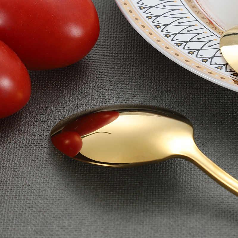 1/5pc aço inoxidável conjunto de talheres dourado espelho louça serviço jantar ouro colheres faca garfo acessórios cozinha