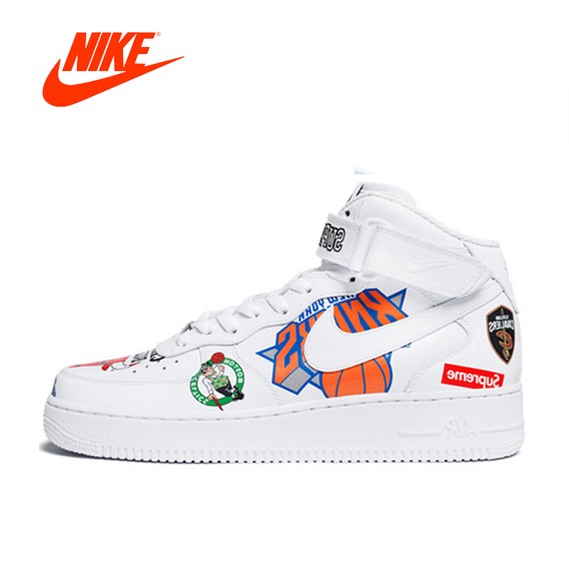 Authentic Nike Air Force Supreme NBA AF1 Men Skateboarding Shoes Sport Outdoor Original 2018 New Arrival Sneakers Good Quality фанатская атрибутика nike curry nba