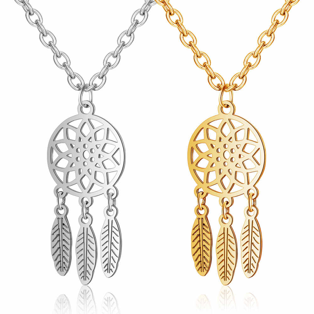 100% Stainless Steel Dream Catcher Necklace Vnistar Never Tarnish Indian Dream Catchers Women's Necklaces Feather Charm Pendants