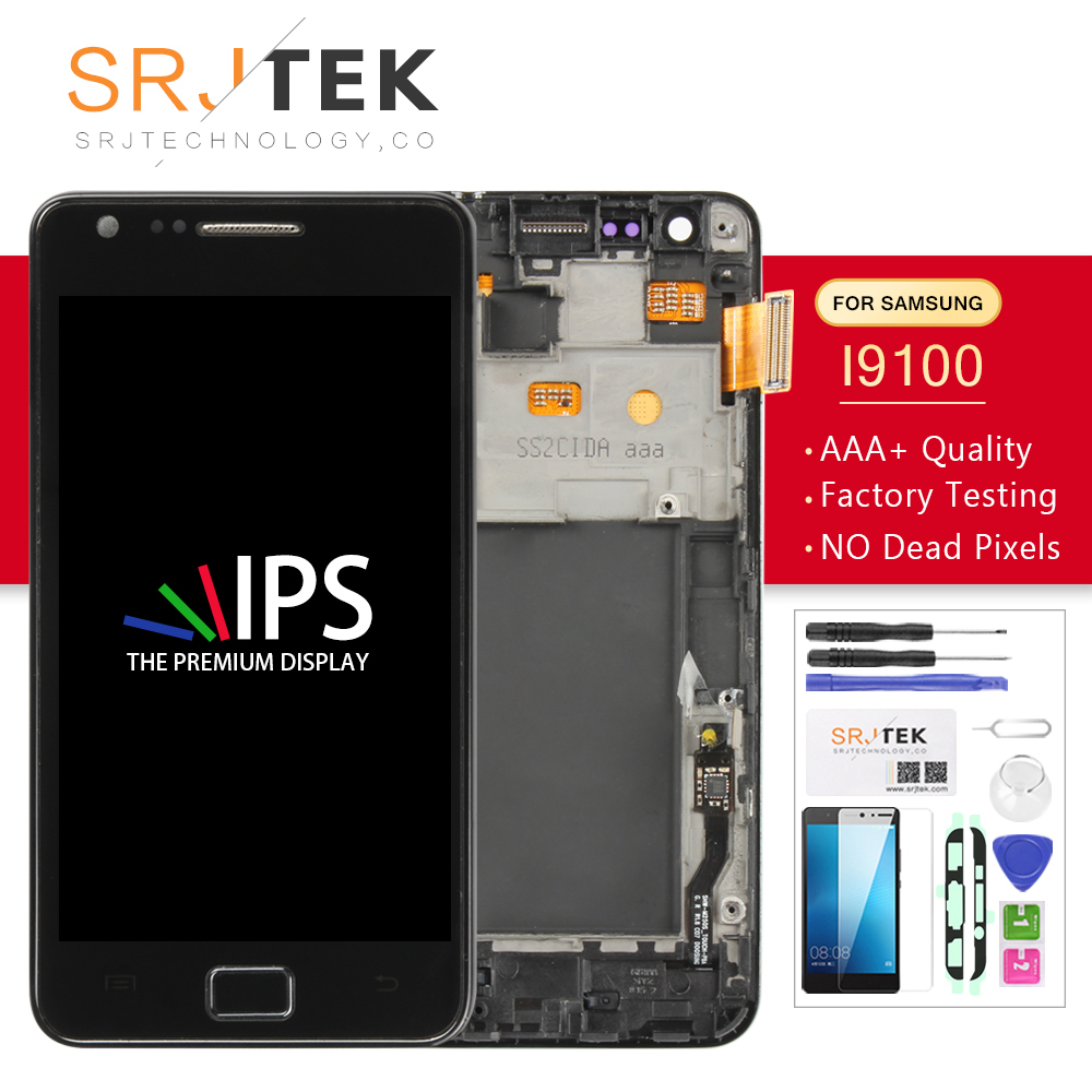 Screen For Samsung Galaxy S2 I9100 LCD Display + Touch Digitizer Sensor Glass Assembly With Frame S 2 I 9100 Without Home Button