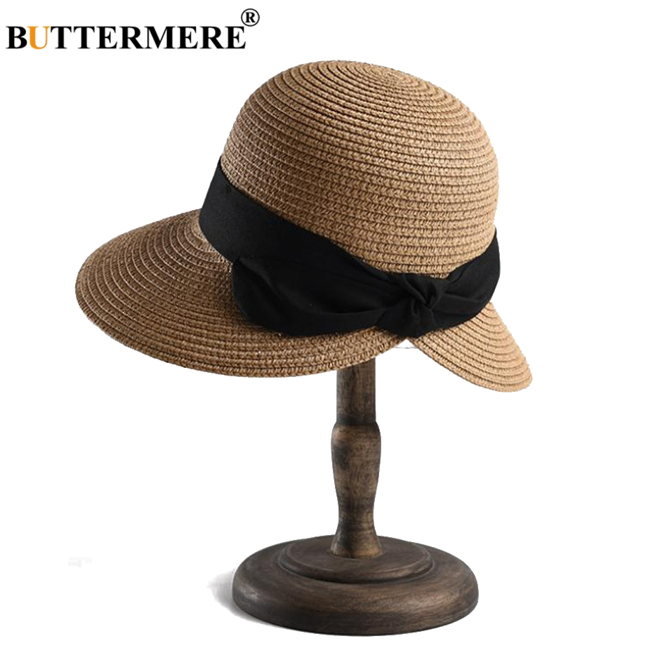 3bcad414da4 BUTTERMERE Womens Hats And Caps Camel Wide Brim Straw Hat Lady Bowknot  Casual Sun Cap Uv