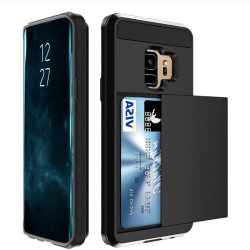 For Samsung Galaxy J2 Pro J6 J4 2018 Note 4 5 8 9 10 Plus Hybrid Slide Card Holder Armor Case For J3 J5 J7 2016 2017 EU Cover
