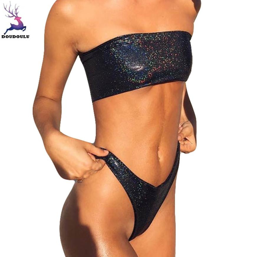 Doudoulu shiny glitter leather women bikini set biquini sexy laundry set underwear female traje badpakken vrouwen bikini 2018#ws