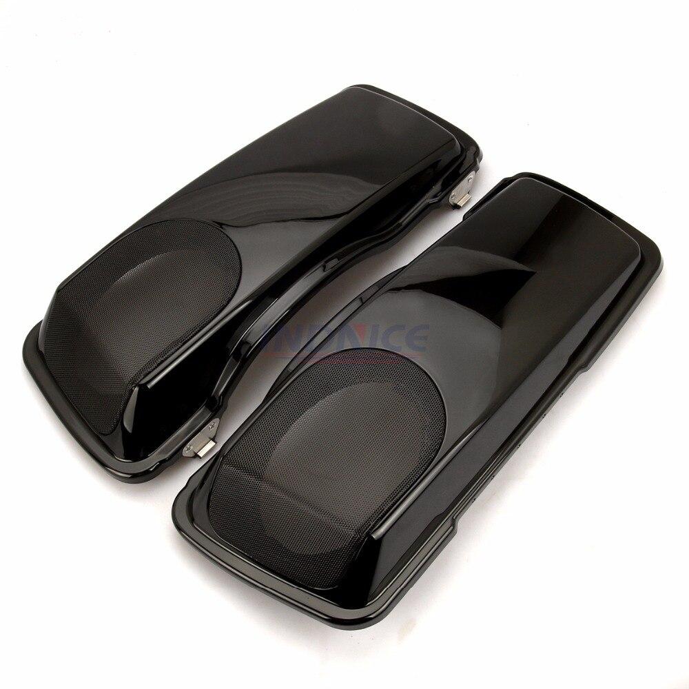 Home Black Saddlebag 5x7 Speaker Lids For Harley 93-13 Touring Ultra-classic Road King Electra Street Glide Flt Flht Flhtcu Flhrc