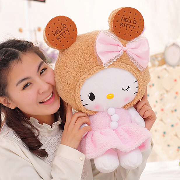 1 PC Super Cute Sweet Biscuits Cookies Hello Kitty Plush Doll Pillow Lovely Stuffed Toy Kawaii Toy Vanlentines day Gift